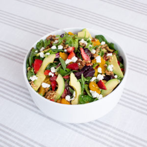 Catering option California Salad with avocado, walnuts, berries, and feta cheese