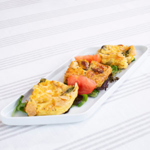 Platter with three mini quiches