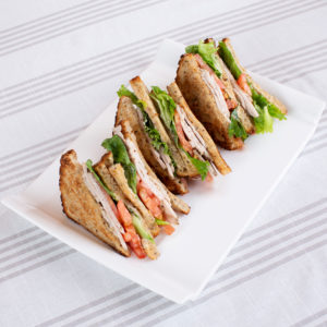 Platter with four sandwiches