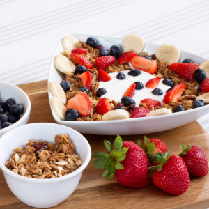 Catering item yogurt bowl with fresh fruit and granola